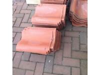 New red clay roof tiles, over 100. Sandtoft.
