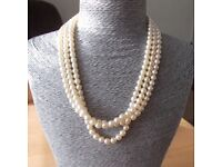 Ivory Triple Strand Vintage Style Pearl String Choker Necklace Bridal Jewellery
