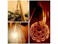 Easel Lamp with wooden ring shade (antique style bulb)