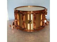 sonor rarest snare 14 x 8 bell brass horst link .mint, with flight case