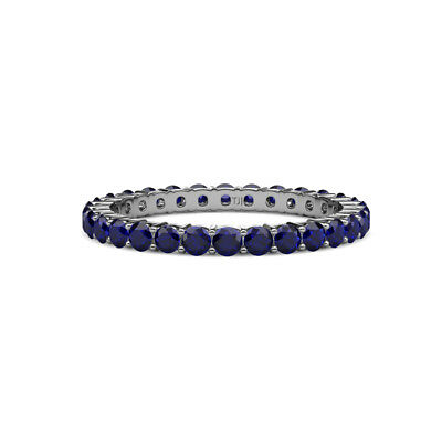 Blue Sapphire Shared Prong Eternity Ring Stackable 1.37 ctw* 14K Gold -