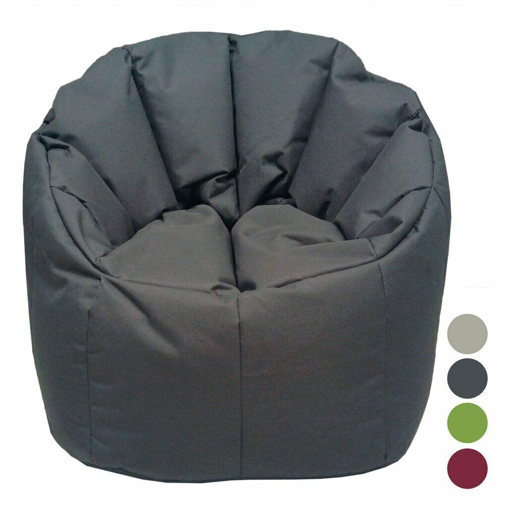 Sitzkissen Sitzsack Beanbag Sessel Outdoor Hocker Sitz-Sessel ø 60 grau - basal