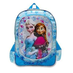 New Disney Frozen Girls' 15 Inch Deluxe Backpack School Bag [Blue]