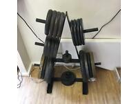 Gym weights roughly 180kg, plus weight tree to store them
