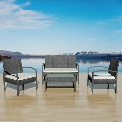 vidaXL Garden Furniture Set 7 Piece Wicker Poly Rattan Black Chairs Sofa Table