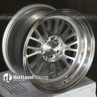 Circuit CP28 15x8 4-100 4-114.3 +0 Silver Machined Wheels Fits Honda Civic EG EK