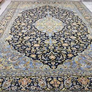 Kashan Persian Rug, Handmade Carpet, Wool, Navy Blue, Light Blue, Green, Yellow and Brown Size: 14.4 X 9.10 ft