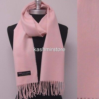 Lady Women New 100% CASHMERE SCARF MADE IN SCOTLAND SOLID Light Pink SUPER SOFT - Woman In Light