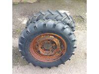Pair of dumper wheels & tyres