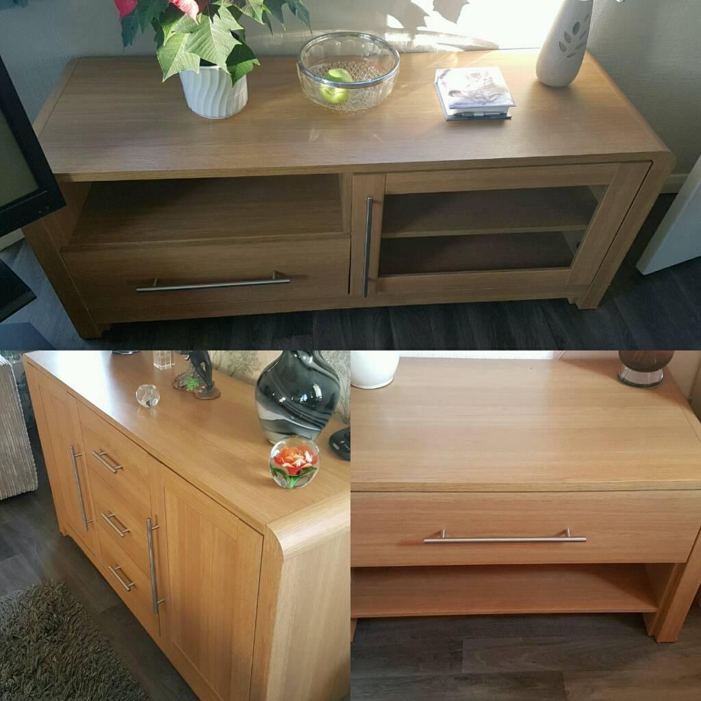 oak effect living room furniture set of 3 pieces sideboard