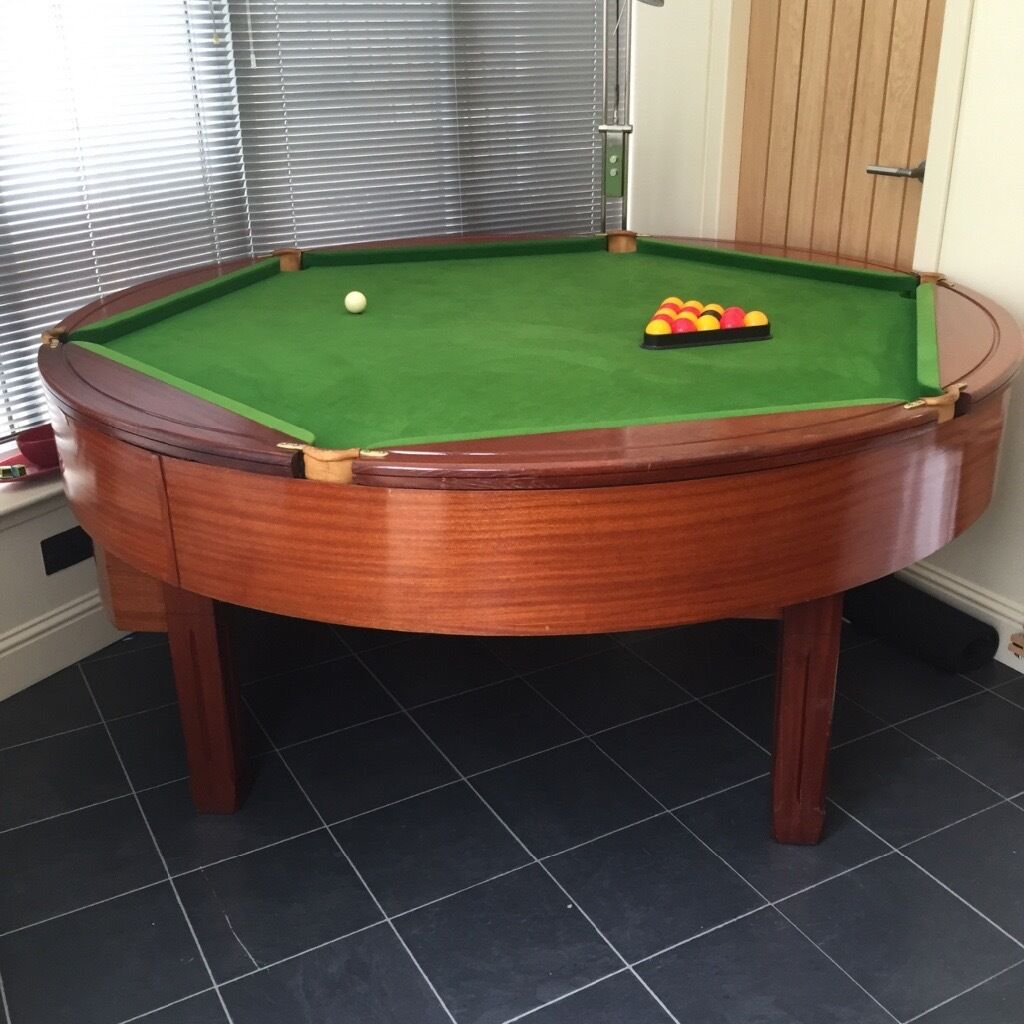 Reduced Rare Round Rotapool Mahogany Pool Table In