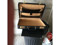 Solid Leather number combination locks unused unwanted gift black leather good value