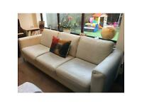 Natuzzi Putty leather sofa and chair