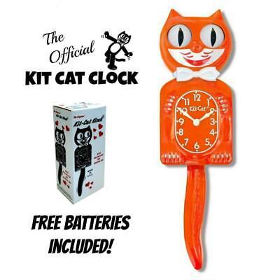 "PUMPKIN DELIGHT KIT CAT CLOCK 15.5"" Orange Free Battery USA MADE Kit-Cat Klock"