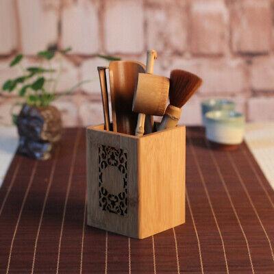 Home Office Bamboo Pen Pencil Ruler Cup Holder Desktop Stationery Organizer