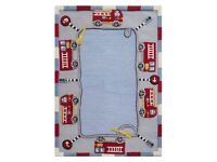 Childrens/Kids Fire Truck Engine Wool Rug Kiddies Rugs