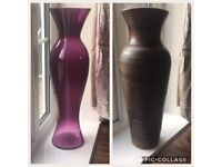 Large floor vase 1 brown 1 purple