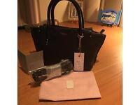 Genuine Radley WIMBLEDON Black Leather Bag BNWT & Dust Cover