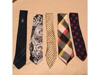 5 Patterned Ties Various Brands & Materials eg. Silk, Polyester...