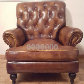 Chesterfield High Back Leather Armchair | Vintage Old Tan Brown | RRP £1,750 |