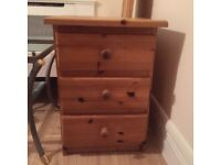 Solid Pine / Oak bedside table with 3 drawers