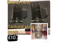 2x glass tankard mugs- new in box