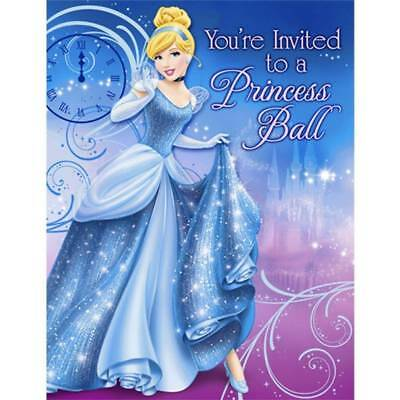 Cinderella Sparkle Princess Ball Birthday Invitations 8 Count Party Supplies NEW - Cinderella Birthday Invitations