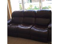Reclining leather 3 piece sofas/chair