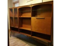 Mid Century Retro Long Teak Shelving / Display Drinks Cabinet On Hairp