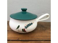 """Denby """"Greenwheat"""" Lidded Handled Soup Dish - Signed A.Colledge"""