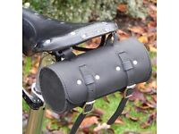 New Bicycle Saddle Tool Bag Real Leather Vintage in Black and Blue