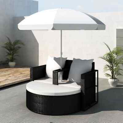Garden Furniture - Patio Sofa Set Rattan Furniture Outdoor Wicker Garden Lounger Daybed w/Parasol