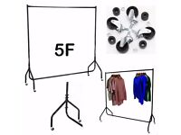 Uk Heavy Duty Clothes Garment All Metal Rail Dress Shop Home Display Stand Rack 5FT