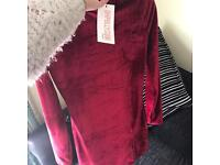 Brand new red velvet short dress