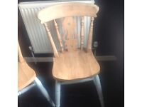 2 X solid pine shabby chic farmhouse dining chairs