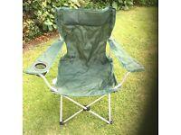 Aluminium framed green folding chair