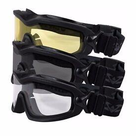 Valken Sierra Tactical Safety Googles Glasses Airsoft Direct Ventilation System