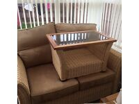 Two seater sofa + one chair and small matching table