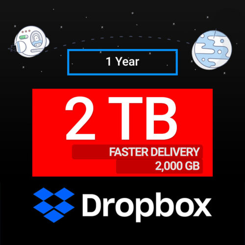 Dropbox 2TB (2000GB) of Storage Space for 1 Year - (Untouched)