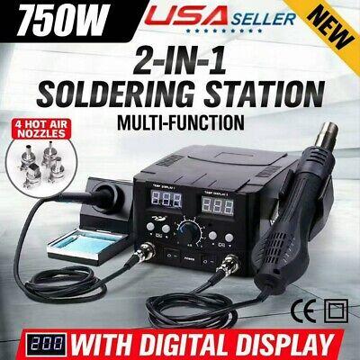 2 In1 Smd Rework Soldering Station Hot Air Gun Solder Iron Dc Power Supply 8528d