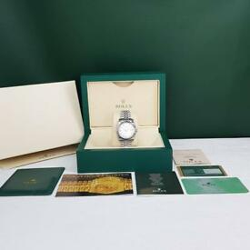 Rolex DateJust Silver White Face - Complete Set Box And Papers 1 Year Free Warranty