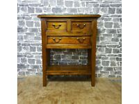 Vintage Solid Wood Side Table with Drawers