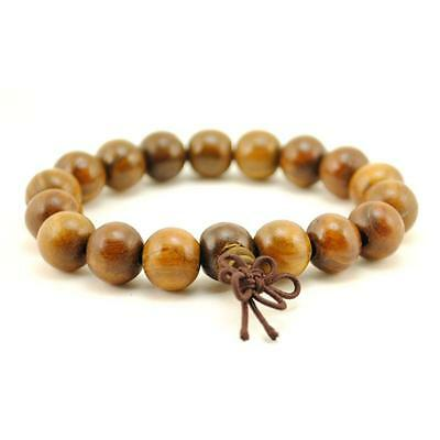 BROWN WOOD WRIST MALA 10mm Prayer Bead Bracelet Stretch Jewelry Natural Buddhist