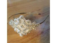Crystal Diamanté appliqué Bridal side tiara headband Vintage 1920s Wedding Hair + FREE postage!