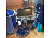 Camping equipment including gas cookers,gas bottle( some gas included) lamp and cooler box