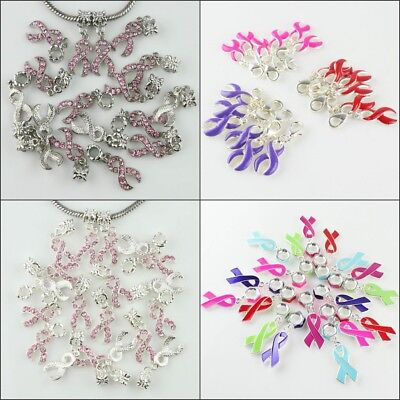10pcs Czech Crystal Enamel Ribbon Breast Cancer Awareness European Charm Beads (Ribbon Awareness)
