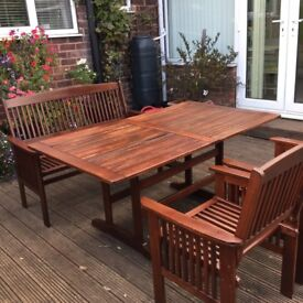 Wooden patio set ,table bench and two chairs