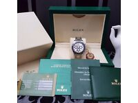 Silver Rolex Daytona with Black Bezel and Silver Face New And Boxed With Paperwork