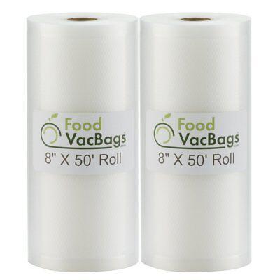 """TWO GIANT 8""""x50' Rolls Vacuum Sealer Food Storage Bags! Huge Food $$$ Saver!"""