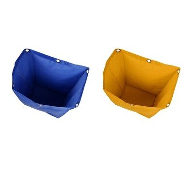 2x Cleaning Bag Storage Bags For Janitorial Commercial Cart Blue Yellow